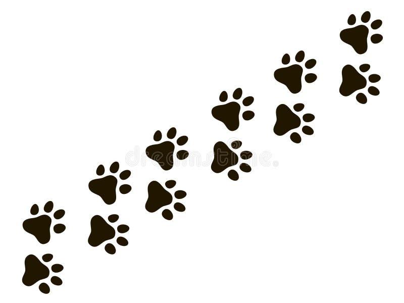 Traccia della zampa dei gatti Cane del gatto del lupo di orme, modello di vettore della stampa della natura delle tracce del cucc illustrazione di stock