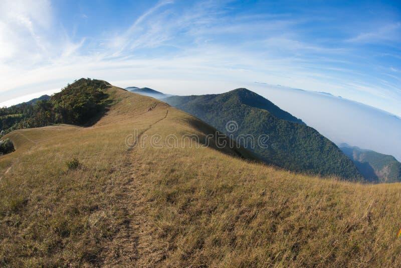 Traccia di camminata dell'itinerario di trekking del paesaggio della montagna al parco nazionale di punta del paesaggio della mon immagini stock