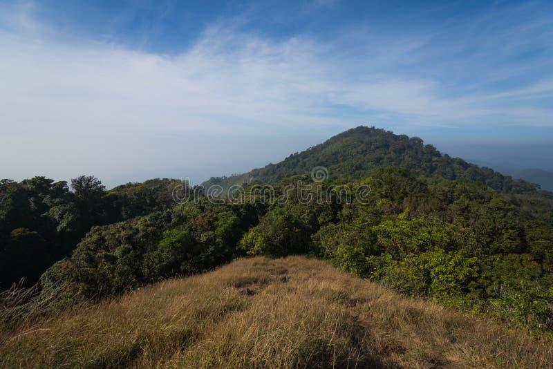 Traccia di camminata dell'itinerario di trekking del paesaggio della montagna al parco nazionale di punta del paesaggio della mon immagine stock libera da diritti