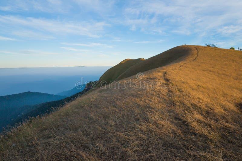 Traccia di camminata dell'itinerario di trekking del paesaggio della montagna al parco nazionale di punta del paesaggio della mon fotografie stock libere da diritti