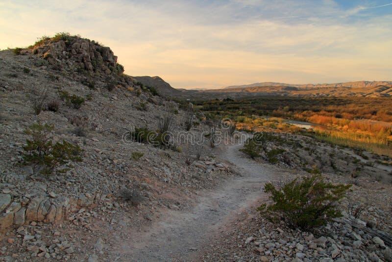 Traccia di Rio Grande Village Campground Nature di mattina immagini stock