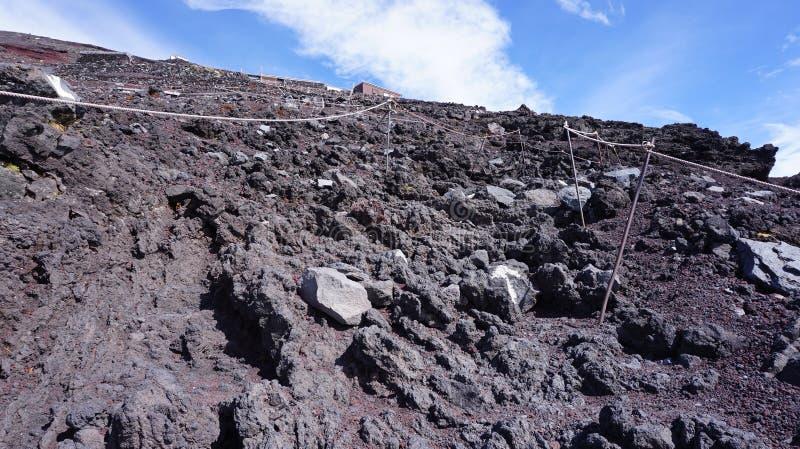 Traccia di trekking della montagna di Fuji fotografie stock libere da diritti