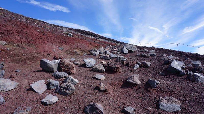 Traccia di trekking sulla montagna di Fuji fotografie stock