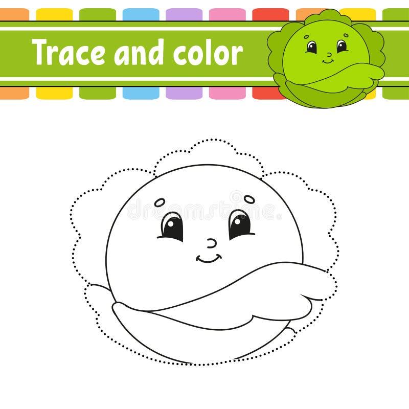 Traccia e colore Pratica della scrittura a mano Foglio di lavoro di sviluppo di istruzione Pagina di attivit? Gioco per il bambin illustrazione di stock