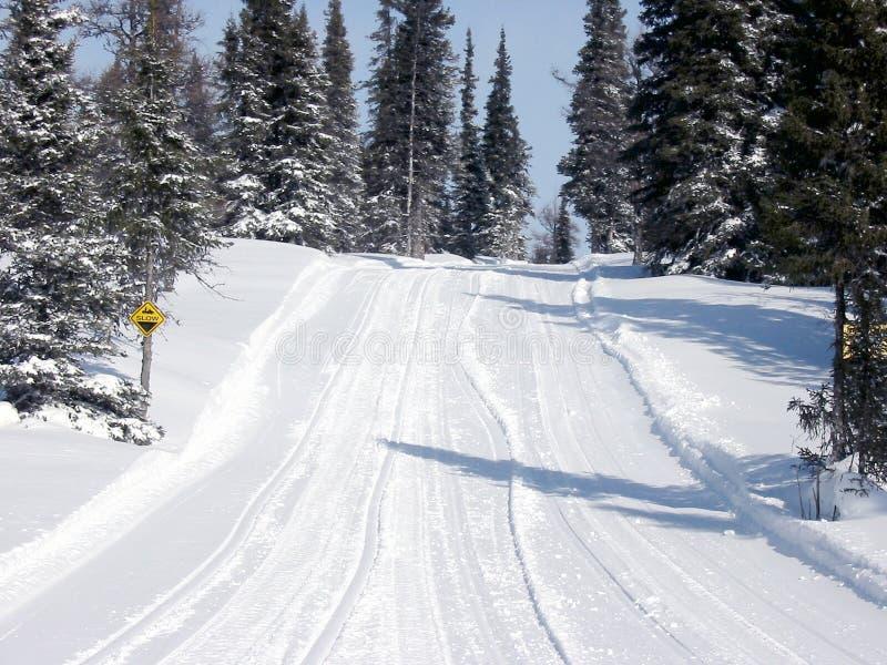 Traccia Esterna In Inverno Fotografie Stock