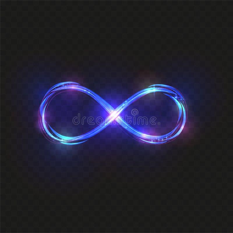 Traccia leggera d'ardore di turbinio del segno di infinito di magia blu di vettore su fondo nero Linea ondulata di scintillio del illustrazione vettoriale