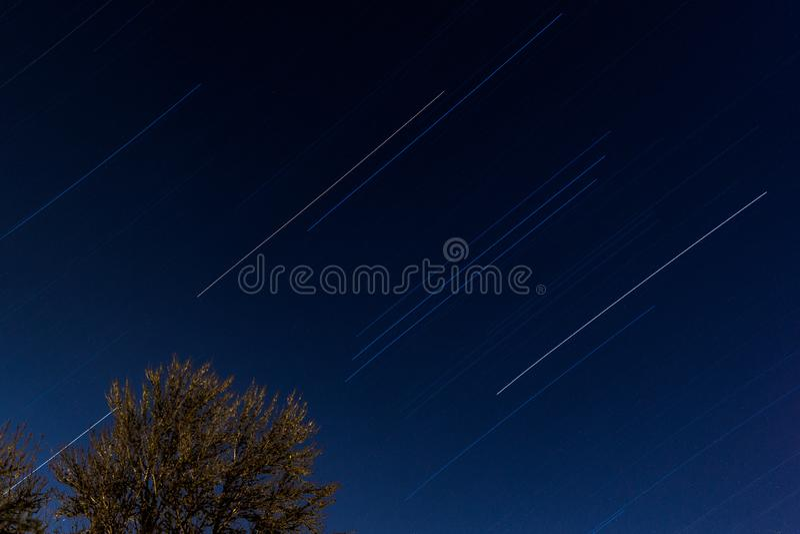 Traccia Timelapse della stella della costellazione Orione da Philomath Oregon immagini stock