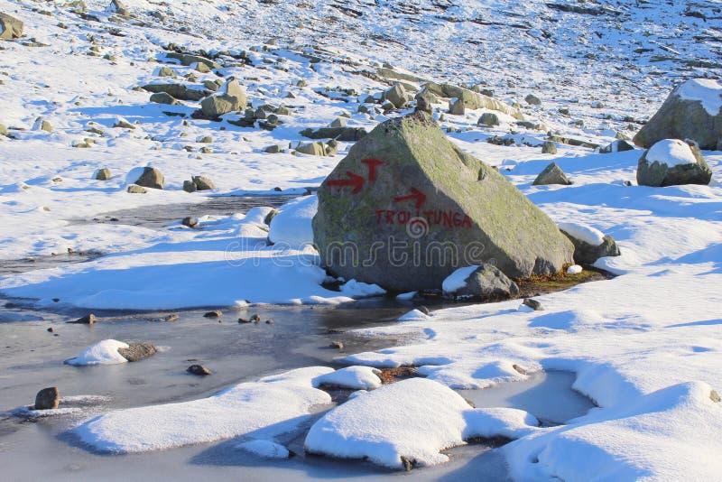Traccia a Trolltunga fotografia stock