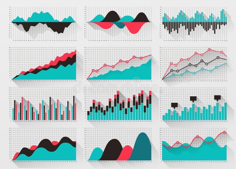 Traccia una carta degli elementi per il infographics di affari illustrazione di stock