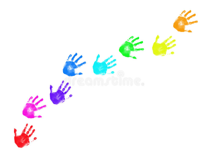 Traccia variopinta dei handprints immagini stock