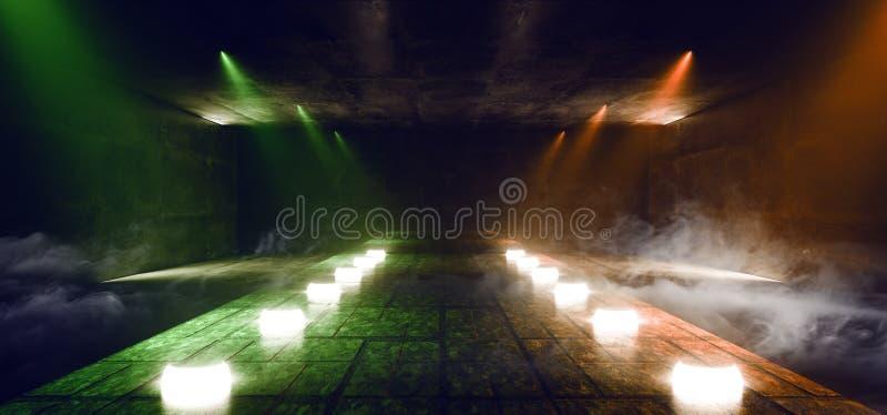 Tracciato Della Catwalk Di Fumo Tracciato In Una Luce Fluorescente Di Arancione Verde Si Illumina A Livello Di Podio Di Podio Di  illustrazione di stock