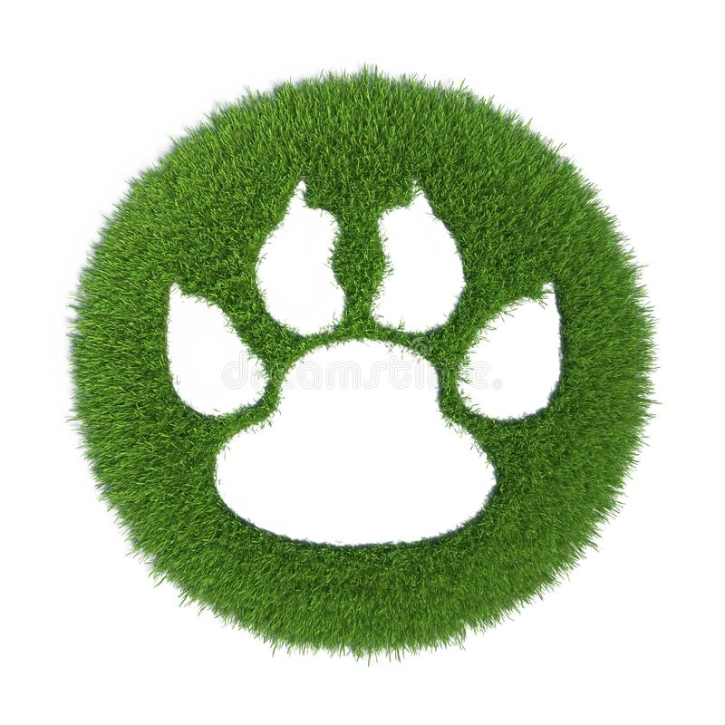 Download Trace Of The Animal On The Green Grass Stock Illustration - Image: 23944406