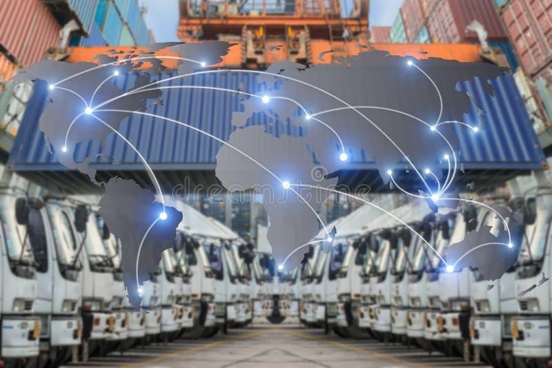 Trace a conexão global da parceria da logística da carga f do recipiente fotos de stock
