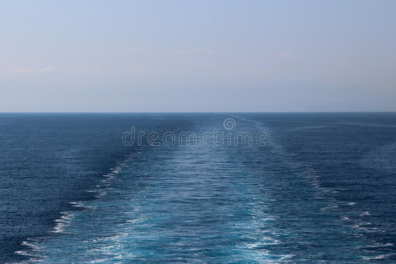 Trace of cruise ship stock photo