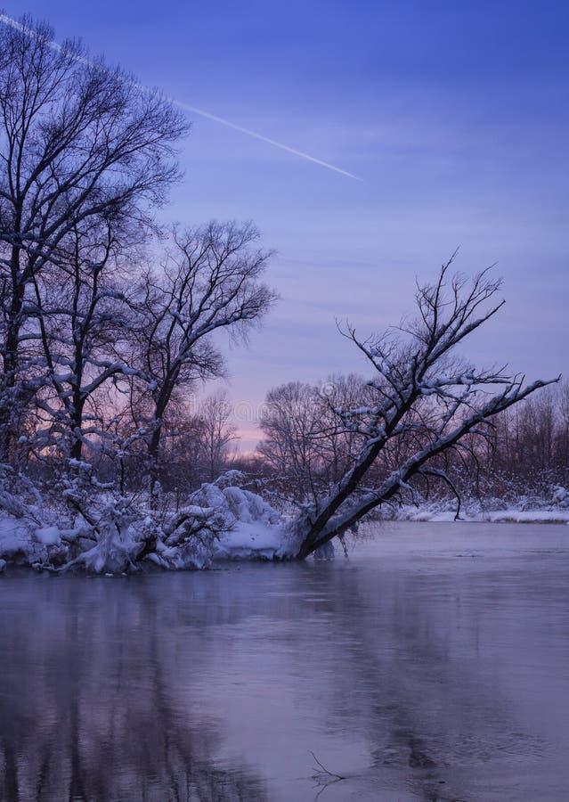 Trace d'avion dans les cieux égalisants Couleurs de coucher du soleil d'hiver images libres de droits