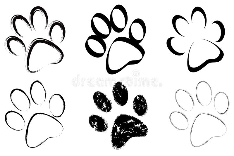 Trace of dogs set. Trace of dogs seen in perspective stock illustration