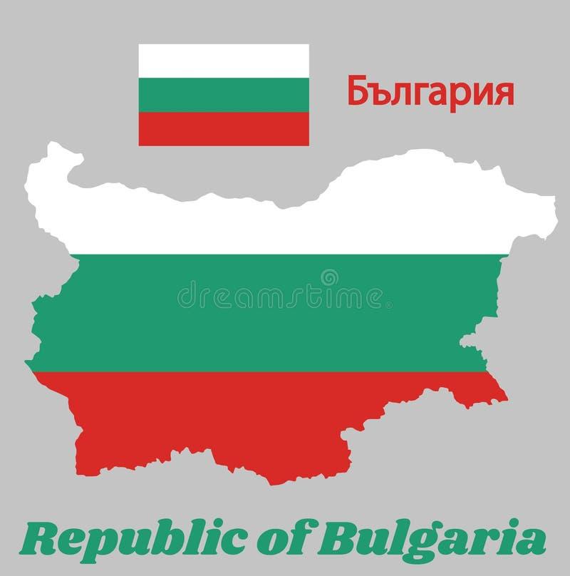 Trace el esquema y la bandera de Bulgaria, un tricolor horizontal del blanco, del verde y del rojo stock de ilustración