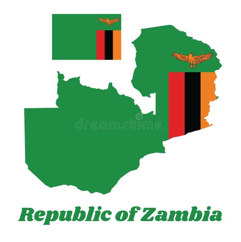 Trace el esquema y la bandera de Zambia, campo verde de A con un águila de color naranja en vuelo sobre un bloque rectangular de  stock de ilustración