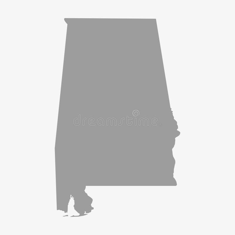 Trace el estado de Alabama en gris en un fondo blanco ilustración del vector