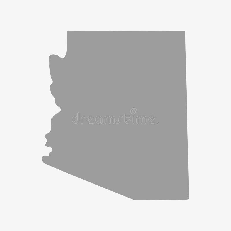 Trace el estado de Arizona en gris en un fondo blanco stock de ilustración