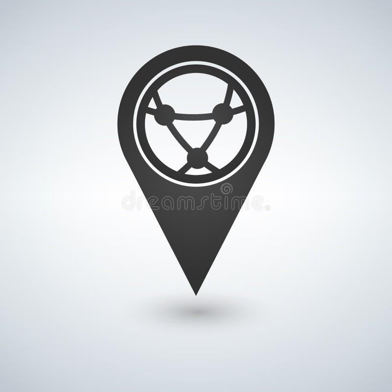 Trace el indicador con el globo, connecton de Internet, icono plano, ejemplo Estilo plano del diseño ilustración del vector