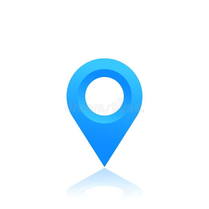 Trace el indicador, icono de la ubicación, perno azul en blanco ilustración del vector