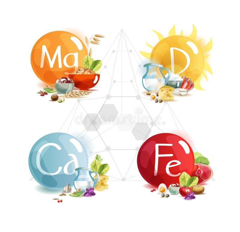 Trace elements for human health: magnesium, potassium, calcium, vitamin D stock illustration
