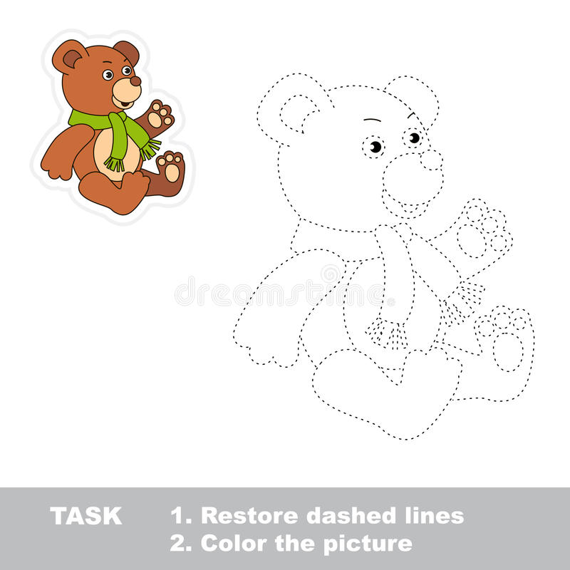 Trace game for children. One cartoon bear toy to stock illustration
