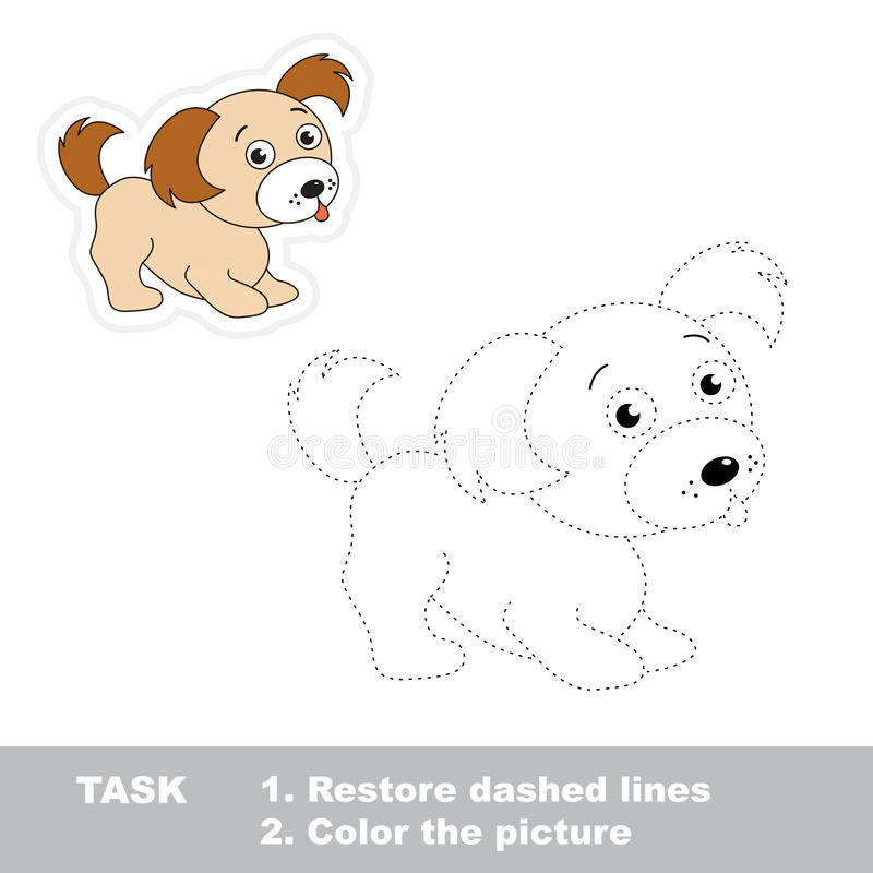 Trace game for children. One cartoon puppy to be royalty free illustration