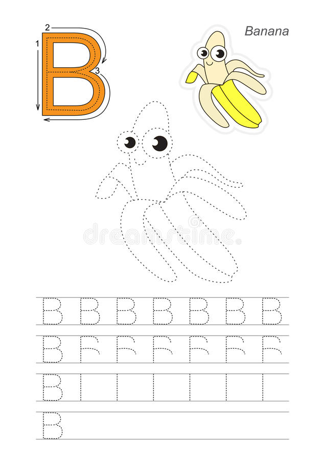 trace game for letter b the yellow banana stock vector illustration of cartoon fruit 75196753. Black Bedroom Furniture Sets. Home Design Ideas