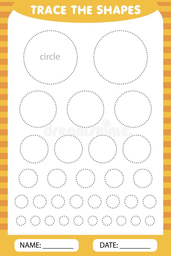 Trace the geometric circles shapes around the contour. learning for children, drawing tasks vector illustration