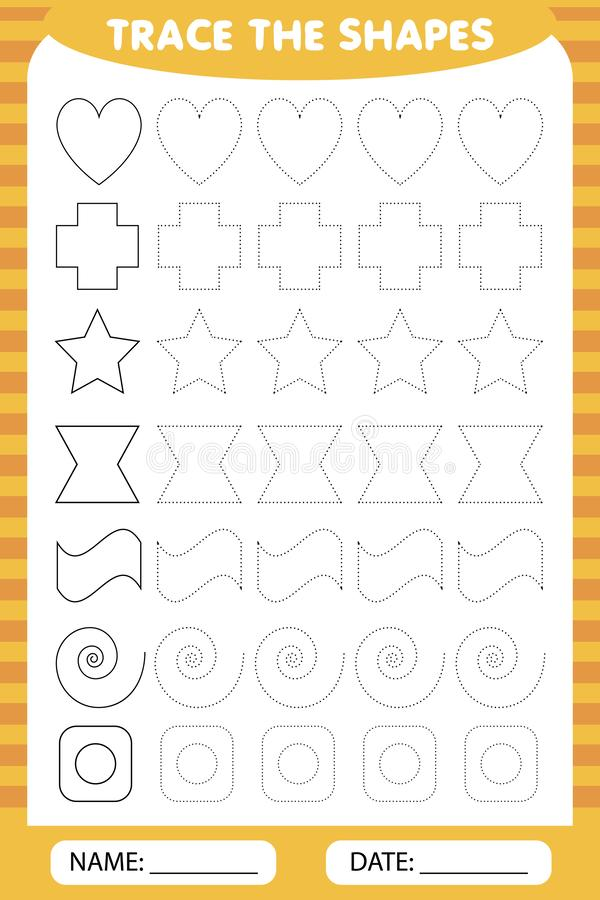 Trace the geometric shapes around the contour - star, cross, heart, wave, curl. learning for children, drawing tasks. simple lesso. Simple lesson figures. trace vector illustration