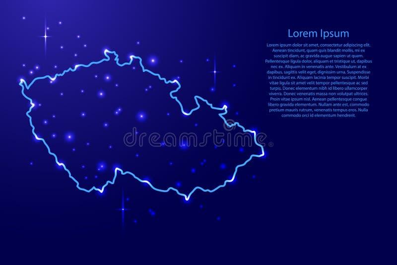 Trace la República Checa de la red de los contornos azul, ejemplo luminoso de las estrellas del espacio ilustración del vector