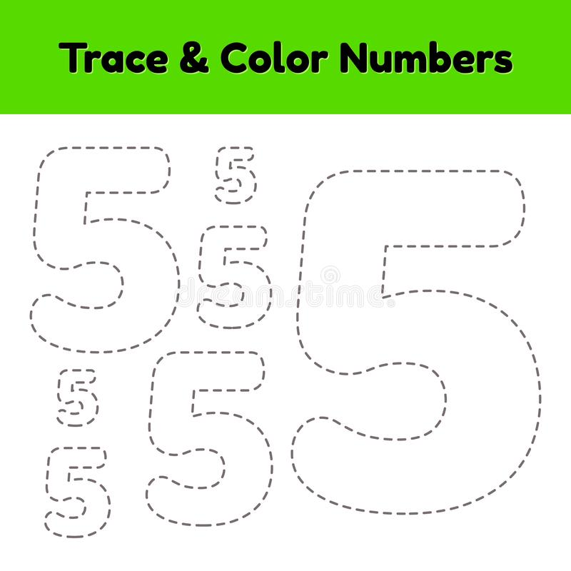 Trace line number for kindergarten and preshool kids. Write and color a five. vector illustration