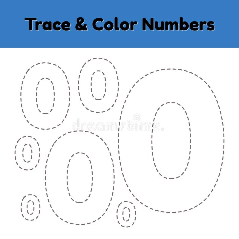Trace line number for kindergarten and preshool kids. Write and color a null. Vector illustration royalty free illustration