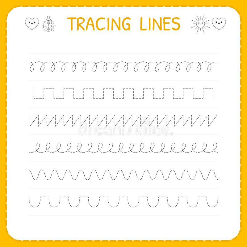 Trace line worksheet for kids. Basic writing. Working pages for children. Preschool or kindergarten worksheet. Trace the pattern. Vector illustration vector illustration