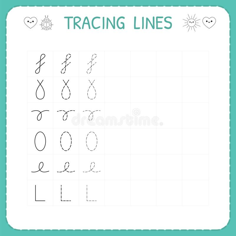 Trace line worksheet for kids. Preschool or kindergarten worksheet. Trace the pattern. Basic writing. Working pages for children. Vector illustration vector illustration