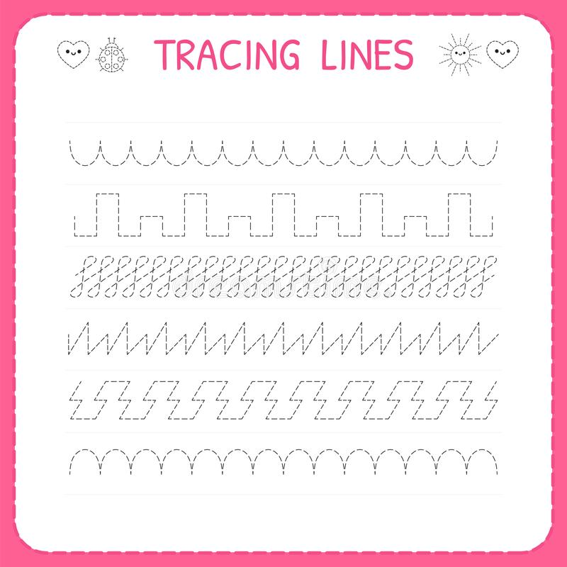 Trace line worksheet for kids. Trace the pattern. Working pages for children. Preschool or kindergarten worksheet. Basic writing. Vector illustration stock illustration