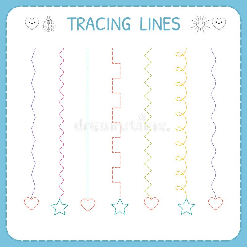 Trace line worksheet for kids. Working pages for children. Preschool or kindergarten worksheet. Basic writing. Vector illustration stock illustration