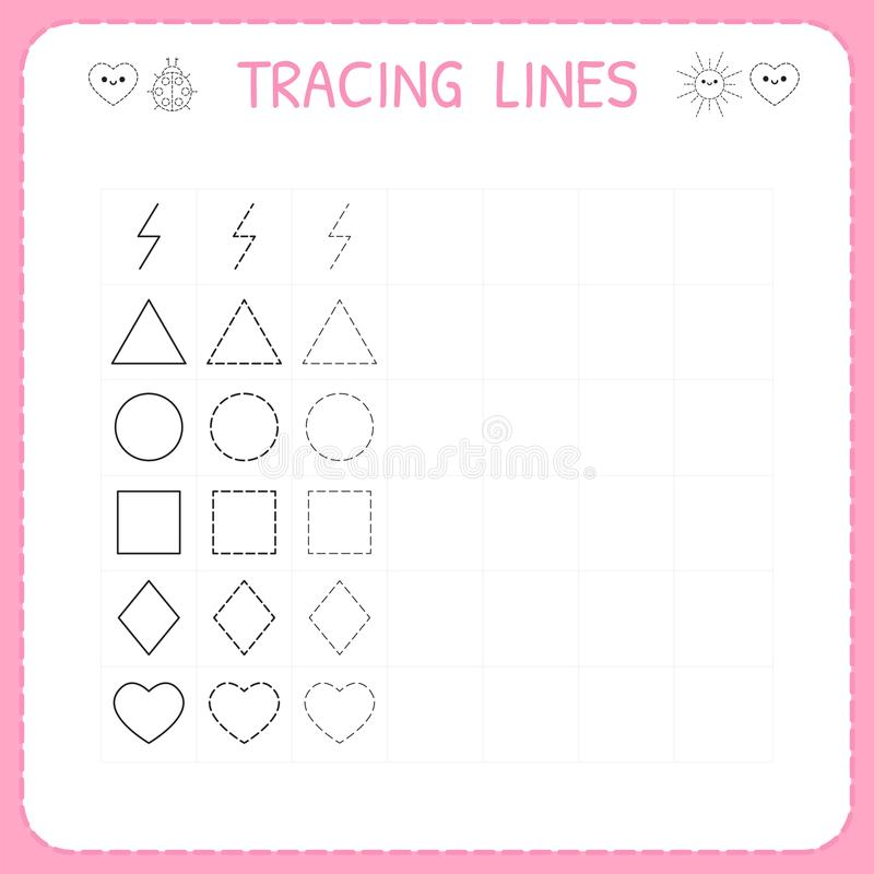 Trace line worksheet for kids. Working pages for children. Preschool or kindergarten worksheet. Basic writing. Trace the pattern. Vector illustration vector illustration