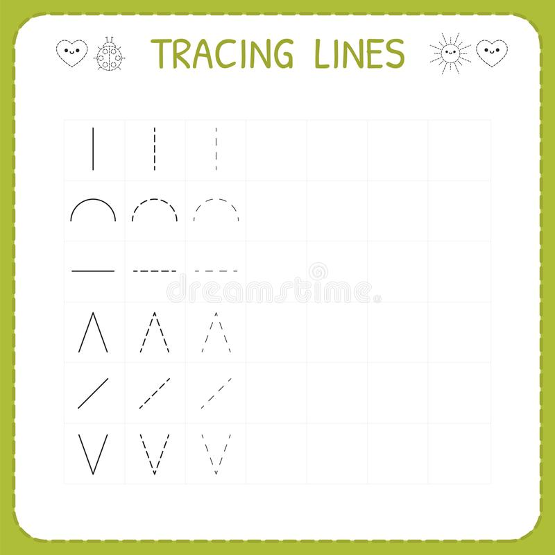 Trace line worksheet for kids. Working pages for children. Preschool or kindergarten worksheet. Trace the pattern. Basic writing. Vector illustration vector illustration