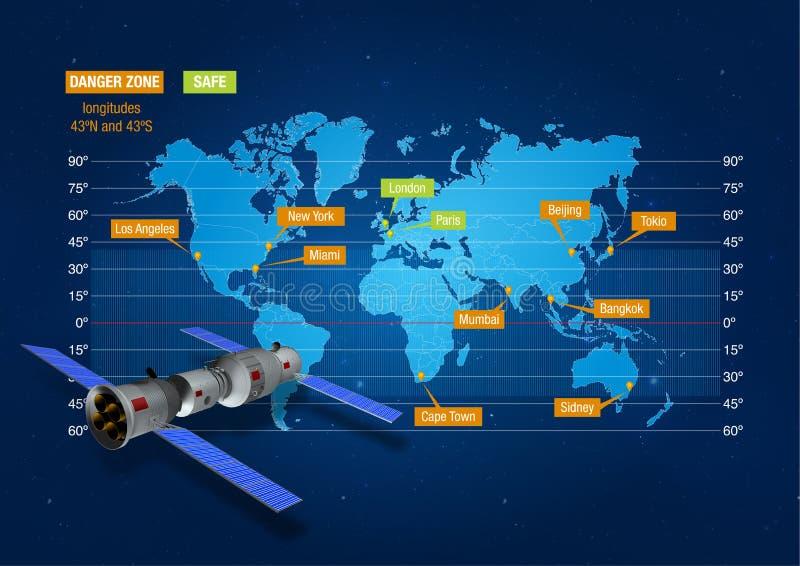 Trace mostrando à zona do risco onde a estação espacial do ` s Tiangong-1 de China deixará de funcionar na terra Com modelo 3D da ilustração royalty free