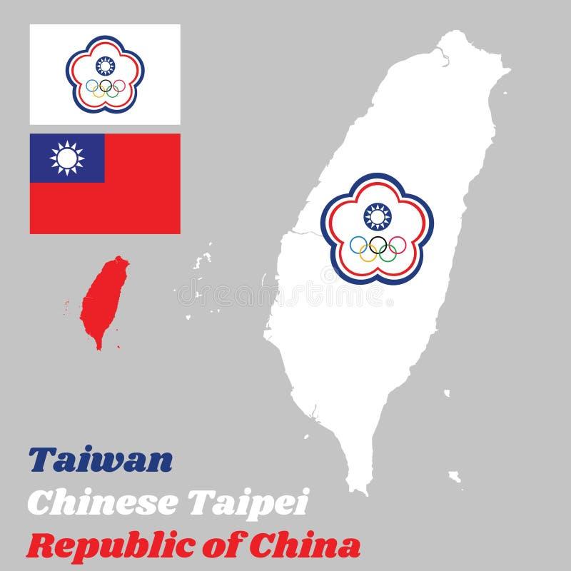 Trace o esboço de Taiwan ou do chinês Taipei, a bandeira olímpica chinesa de Taipei e a bandeira da República da China ilustração royalty free
