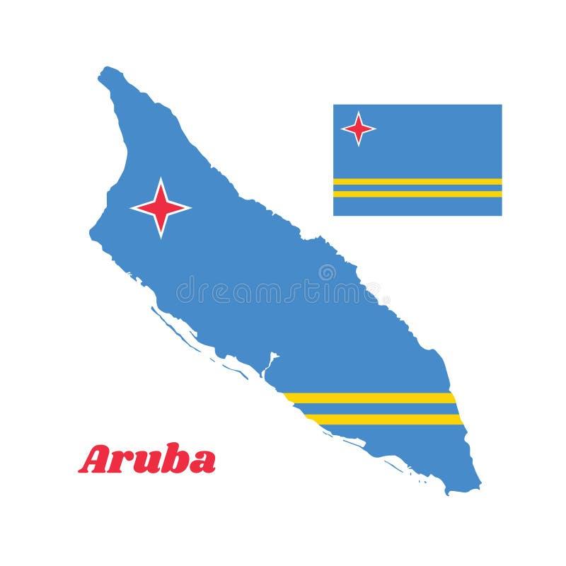 Trace o esboço e a bandeira de Aruba, um campo da luz - azul e duas listras amarelas horizontais paralelas estreitas na metade e  ilustração do vetor