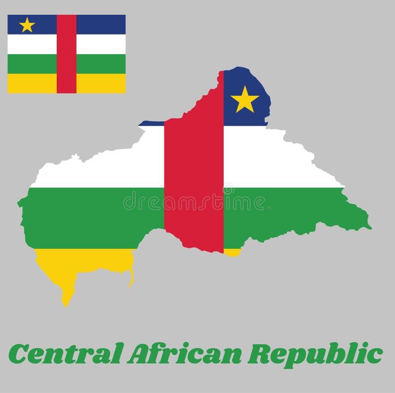 Trace o esboço e a bandeira de da África Central, quatro listras horizontais de azul, de branco, de verde e de amarelo e vertical ilustração stock