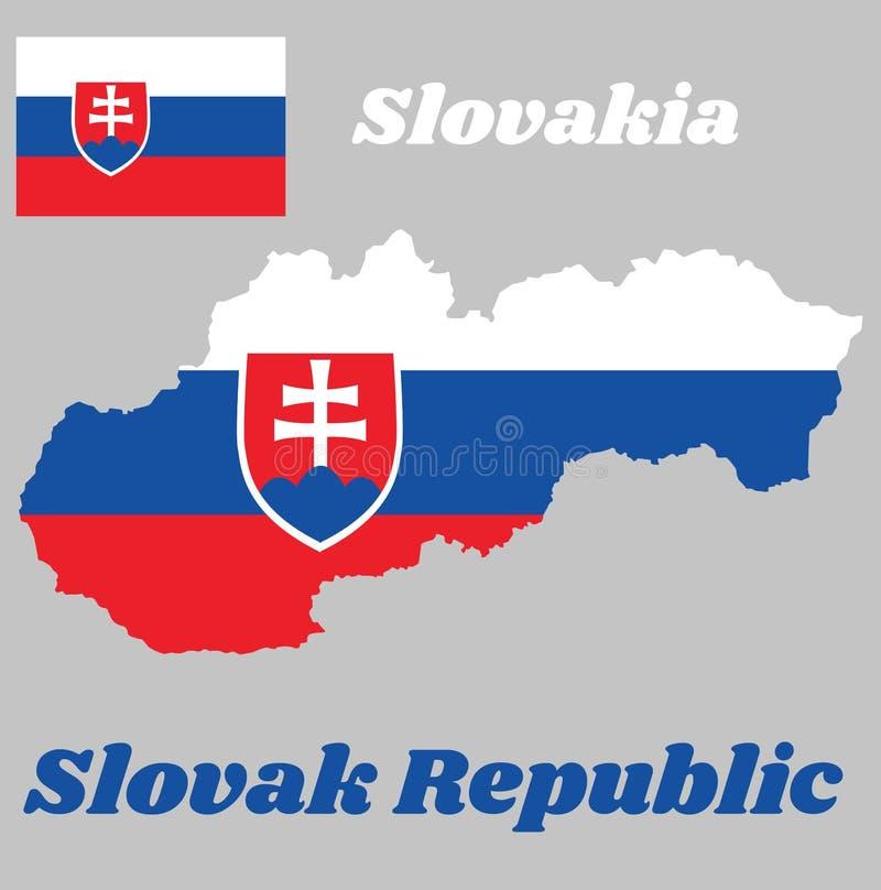 Trace o esboço e a bandeira de Eslováquia, um tricolor horizontal do branco, do azul e do vermelho; carregado com um protetor que ilustração royalty free
