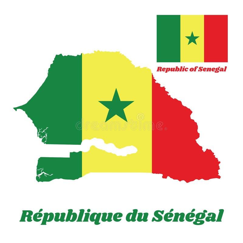 Trace o esboço e a bandeira de Senegal, tricolor vertical de A do verde, do amarelo e do vermelho; carregado com um greenstar no  ilustração stock