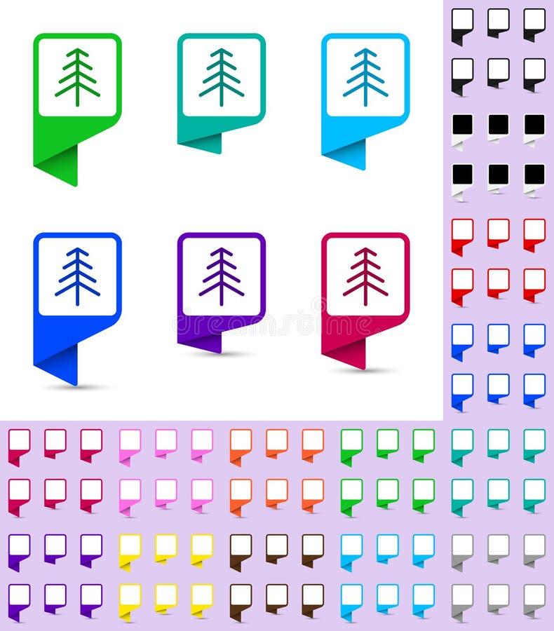 Trace o marcador ou o ponteiro, zombaria arredondada do marcador acima com fundo branco quadrado em cores diferentes Molde pronto ilustração do vetor