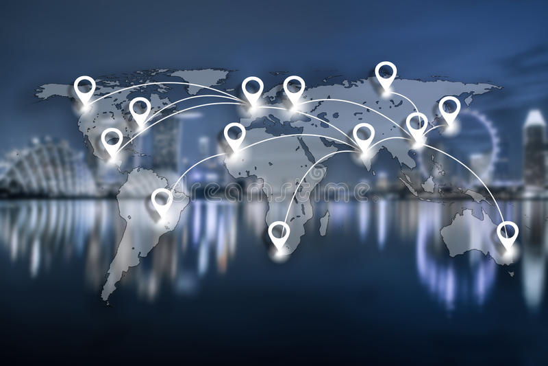 Trace o plano do pino e o conection da rede na cartografia global G do mundo fotos de stock royalty free