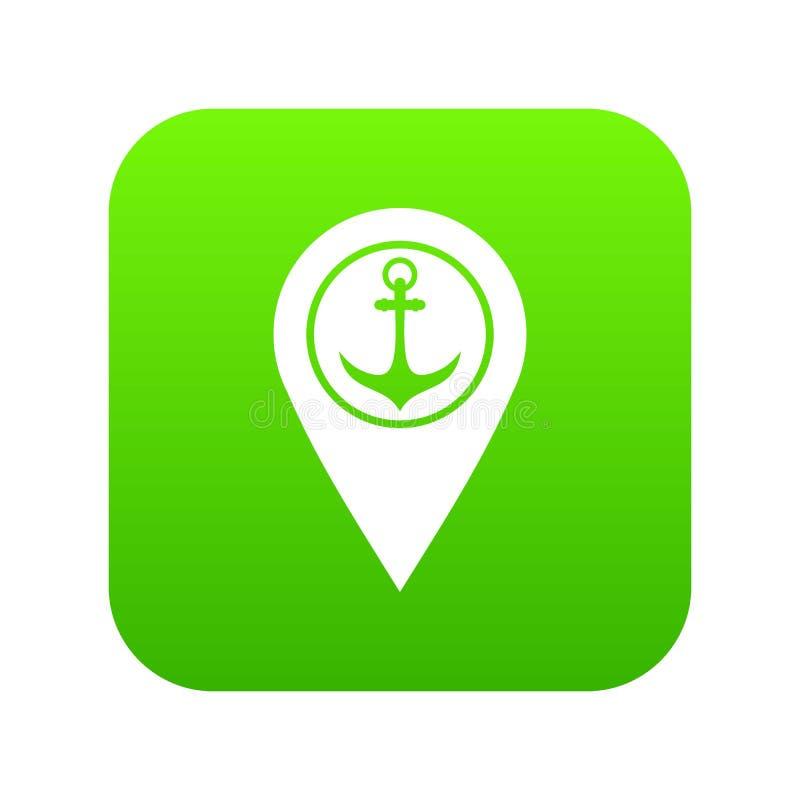 Trace o ponteiro com verde digital do ícone da âncora e do porto marítimo do símbolo ilustração do vetor